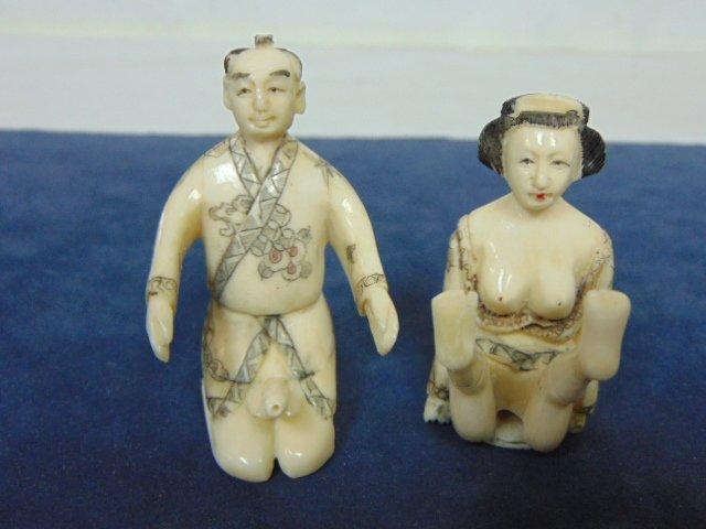 VINTAGE JAPANESE NETSUKE SHUNGA CARVED BONE  FIGURES - 4