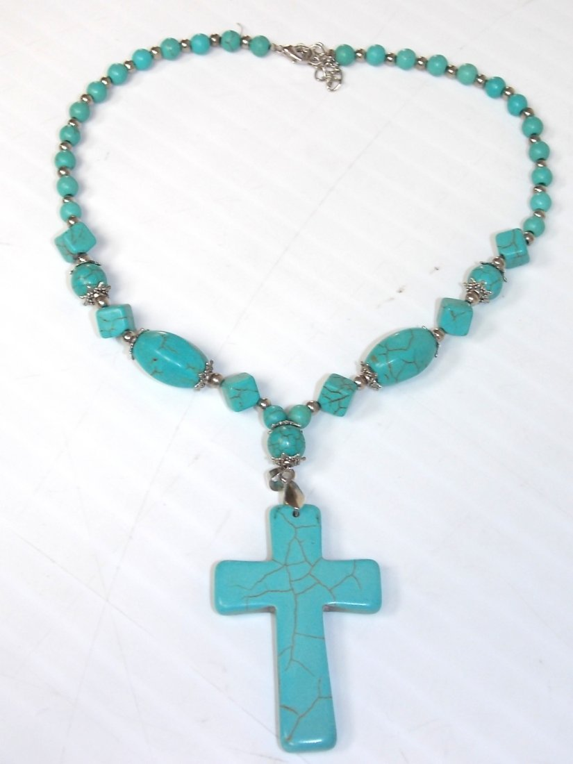 ONE OF KIND WOMENS TURQOISE CRUCIFIX CROSS