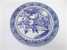 BLUE  WHITE CHINESE PORCELAIN PLATE W OUTDOOR SCENE