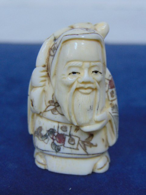 ANTIQUE CHINESE NATSUKE IVORY CHINESE IMMORTAL BUTTON