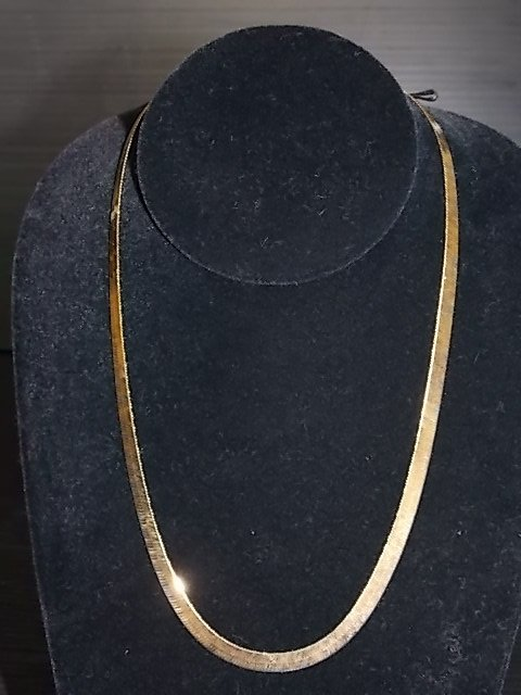 STERLING SILVER GOLD TONE HERRINGBONE NECKLACE 13.21g
