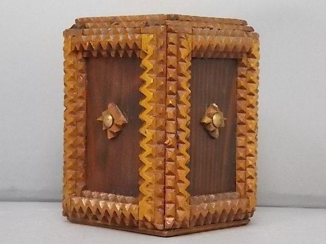 ANTIQUE PRIMITIVE HAND MADE TRAMP ART PUZZLE BOX BANK - 2