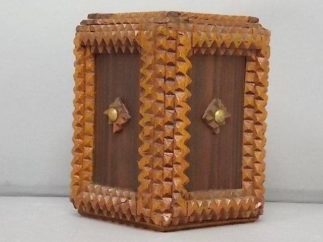 ANTIQUE PRIMITIVE HAND MADE TRAMP ART PUZZLE BOX BANK - 3