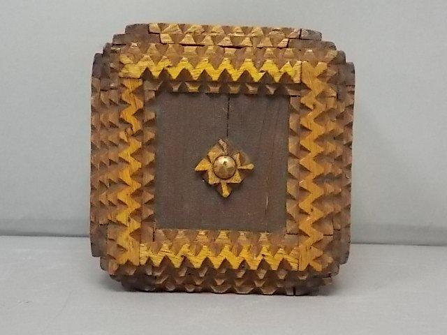 ANTIQUE PRIMITIVE HAND MADE TRAMP ART PUZZLE BOX BANK - 4