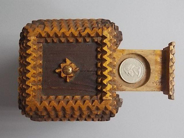 ANTIQUE PRIMITIVE HAND MADE TRAMP ART PUZZLE BOX BANK - 7