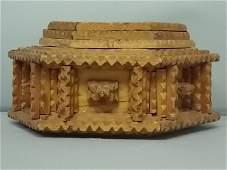 ANTIQUE PRIMITIVE HAND MADE TRAMP ART TRINKET BOX