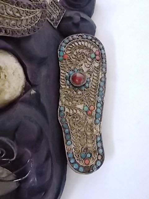 EARLY ANTIQUE TIBETAN OR HIMALAYAN MASK W/ TURQUOISE - 3