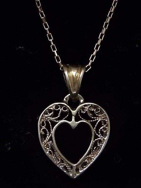 Vintage Estate 14K Gold Chain Necklace W/ Heart Pendant - 2