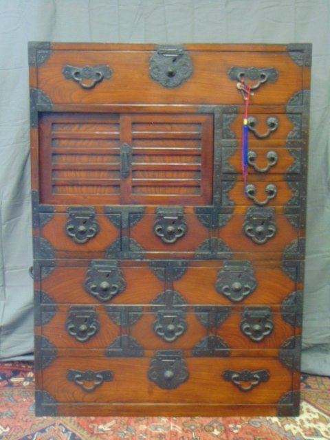 ANTIQUE ROSEWOOD ? JAPANESE LACQUERED DANSU TANSU CHEST