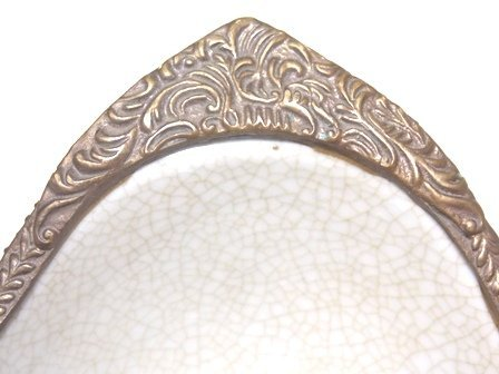 VICTORIAN STYLE PORCELAIN SOAP DISH W/ BRONZE DRAGONFLY - 5