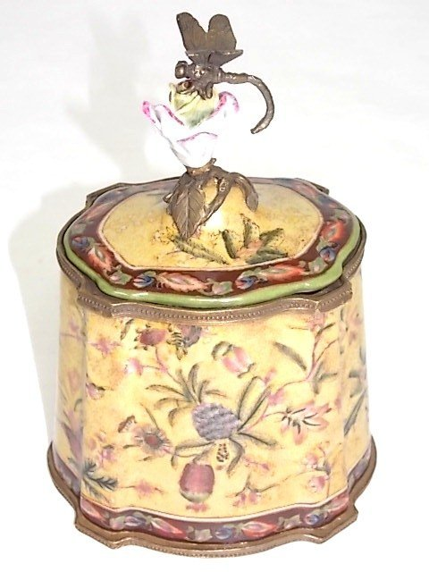BRONZE PORCELAIN COVERED BOX W/ DRAGONFLY FINIAL