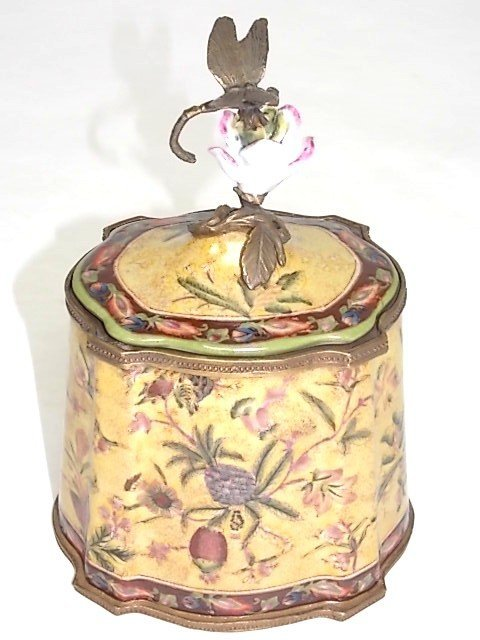 BRONZE PORCELAIN COVERED BOX W/ DRAGONFLY FINIAL - 2