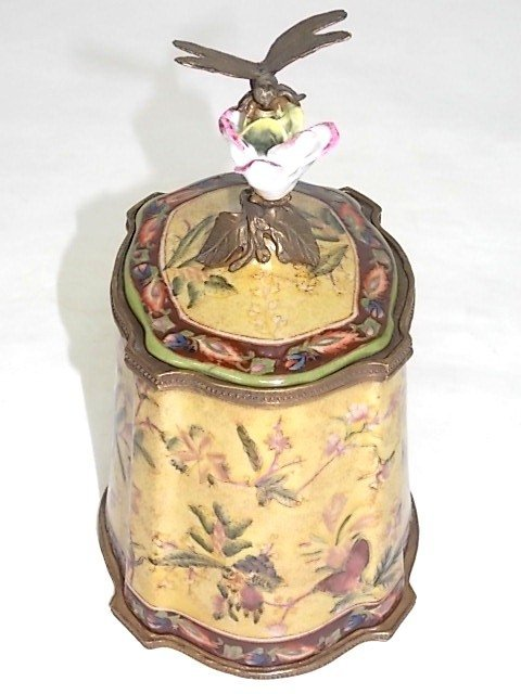 BRONZE PORCELAIN COVERED BOX W/ DRAGONFLY FINIAL - 3