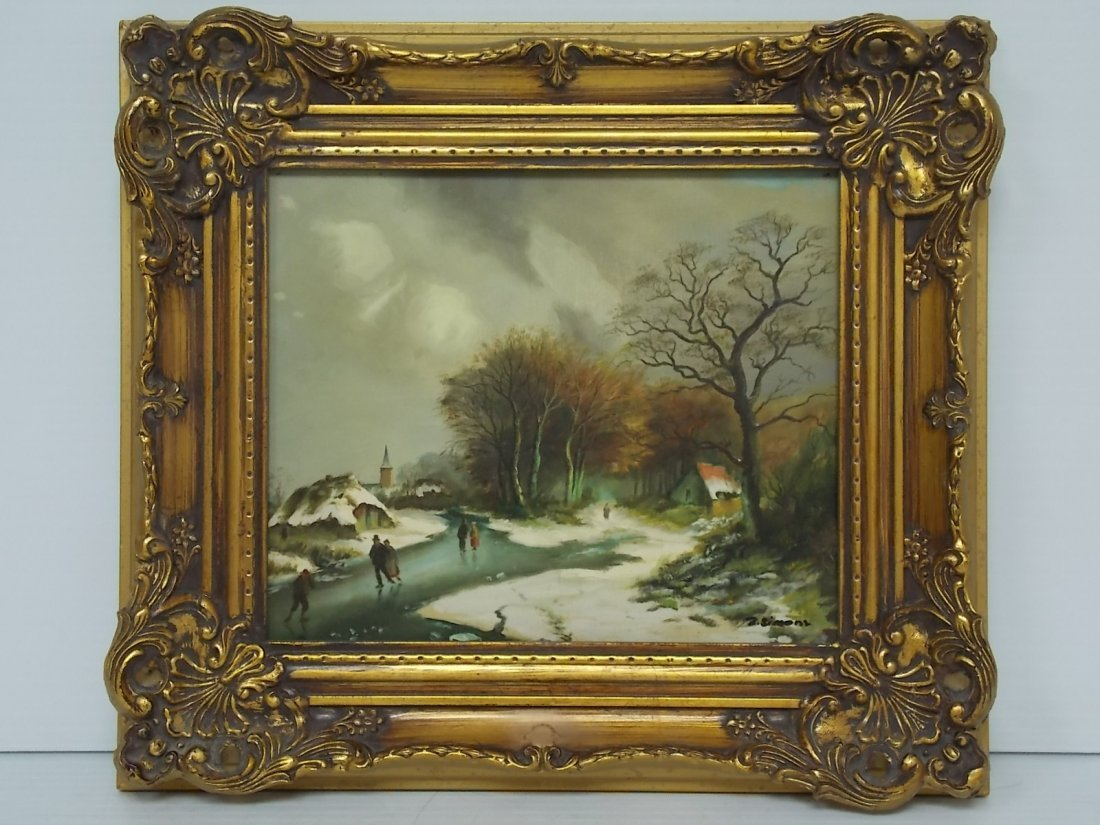 DECORATIVE WINTER SCENE OIL PAINTING SIGNED SIMONS