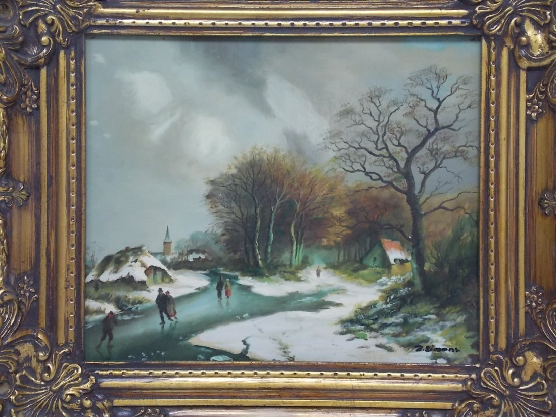 DECORATIVE WINTER SCENE OIL PAINTING SIGNED SIMONS - 2
