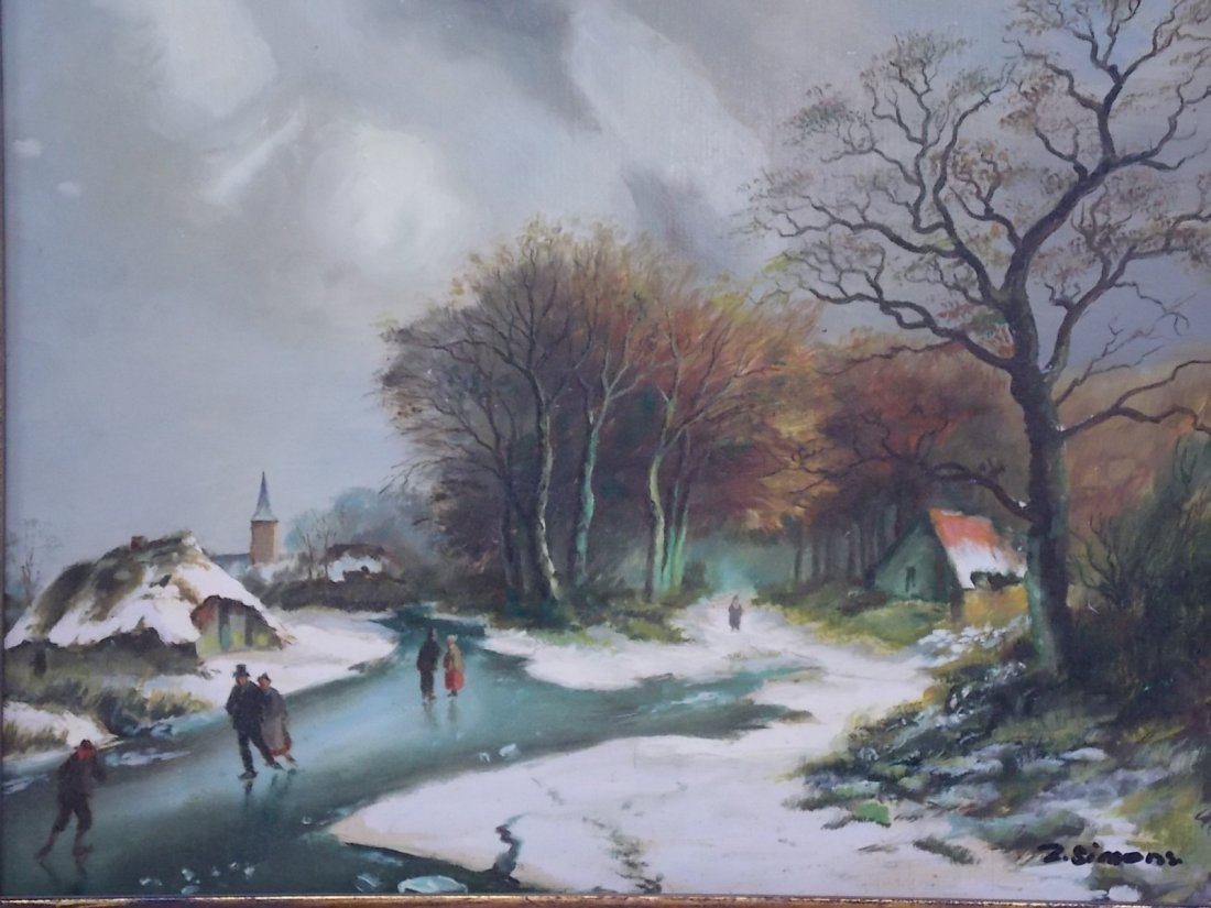 DECORATIVE WINTER SCENE OIL PAINTING SIGNED SIMONS - 3