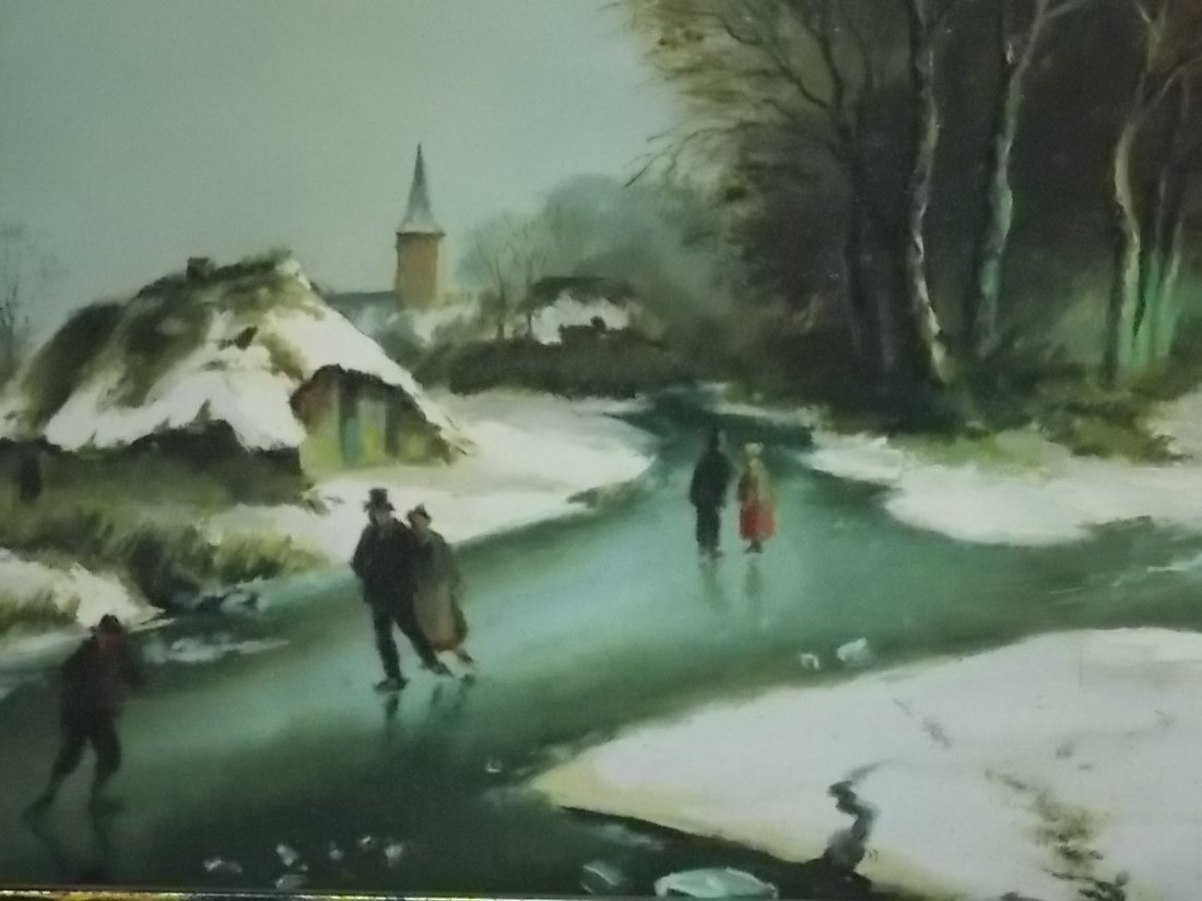DECORATIVE WINTER SCENE OIL PAINTING SIGNED SIMONS - 4