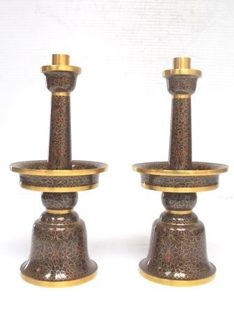 VINTAGE CHINESE ASIAN CLOISONNE CANDLESTICK HOLDERS