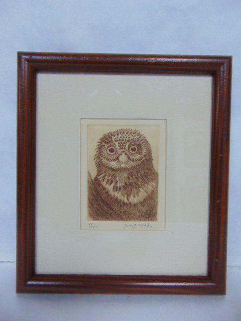 VINTAGE LIMITED SIGNED ENGRAVING OF AN OWL