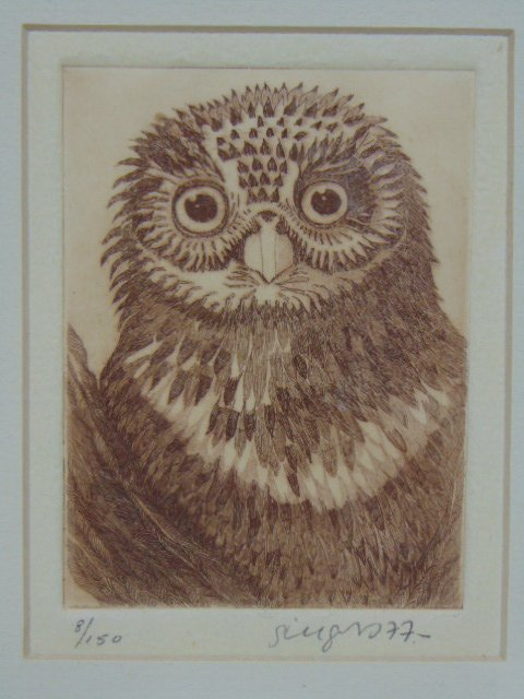 VINTAGE LIMITED SIGNED ENGRAVING OF AN OWL - 2