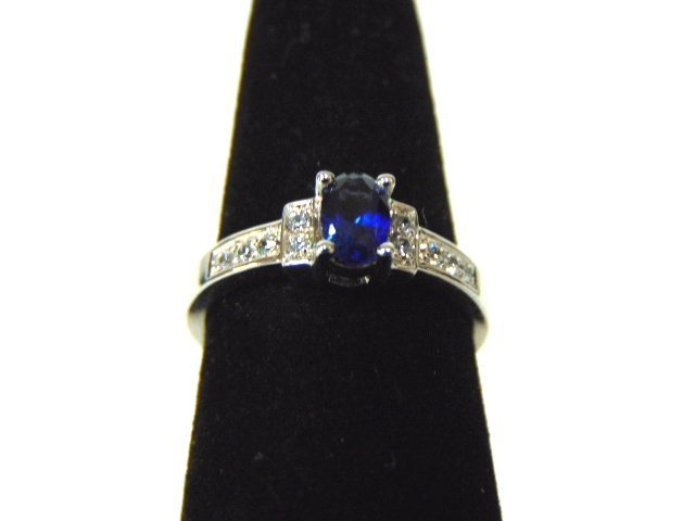 Womens Sterling Silver .925 Ring w/ Sapphire Stone 2.7g