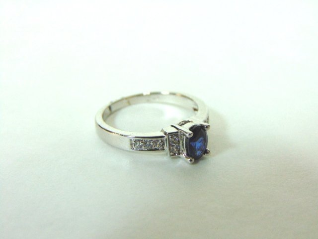 Womens Sterling Silver .925 Ring w/ Sapphire Stone 2.7g - 5