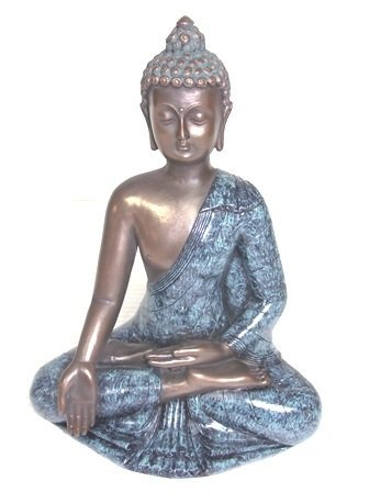 BRONZE FINISH BUDDHA STATUE WITH GOLD ACCENTS