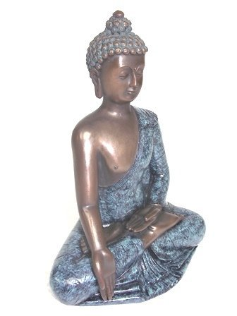 BRONZE FINISH BUDDHA STATUE WITH GOLD ACCENTS - 2