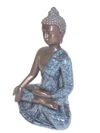 BRONZE FINISH BUDDHA STATUE WITH GOLD ACCENTS - 3