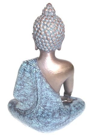 BRONZE FINISH BUDDHA STATUE WITH GOLD ACCENTS - 4