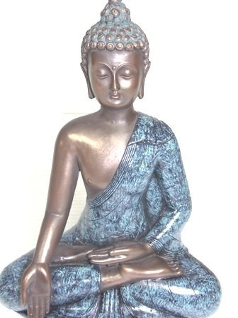 BRONZE FINISH BUDDHA STATUE WITH GOLD ACCENTS - 5
