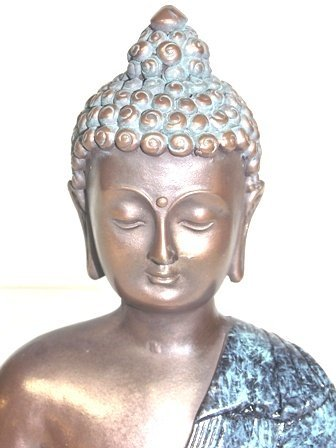 BRONZE FINISH BUDDHA STATUE WITH GOLD ACCENTS - 6