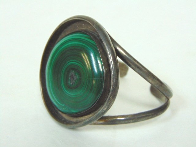 WOMENS VINTAGE ESTATE MALACHITE CUFF BRACELET