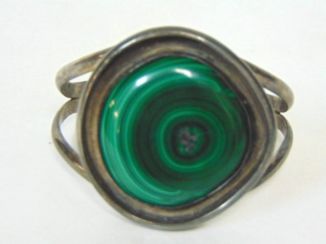 WOMENS VINTAGE ESTATE MALACHITE CUFF BRACELET - 2