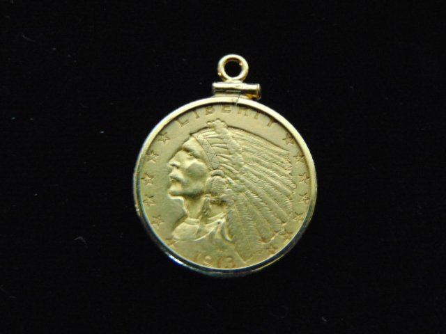 ESTATE FIND 1913 INDIAN HEAD $2.5 GOLD COIN PENDANT