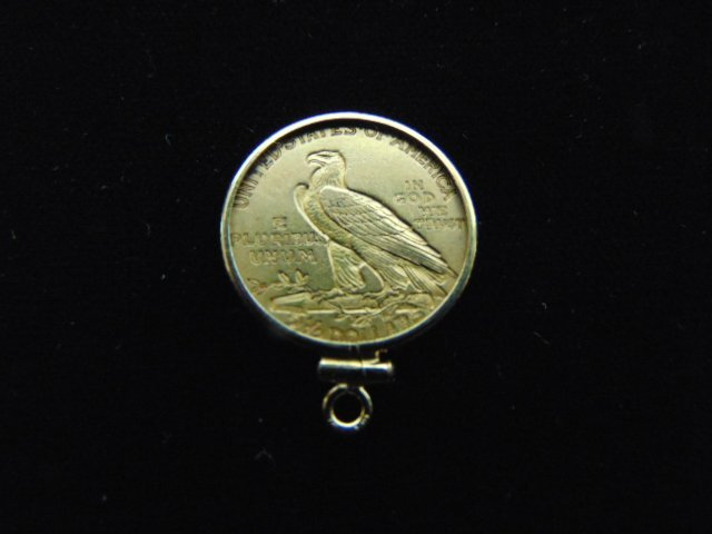 ESTATE FIND 1913 INDIAN HEAD $2.5 GOLD COIN PENDANT - 2