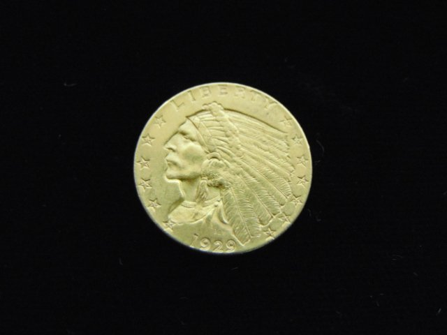 ESTATE FIND 1929 INDIAN HEAD $2.5 GOLD COIN