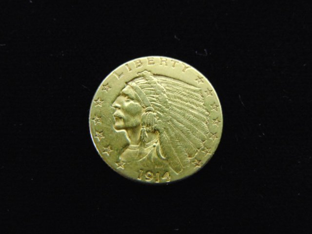 ESTATE FIND 1914 INDIAN HEAD $2.5 GOLD COIN