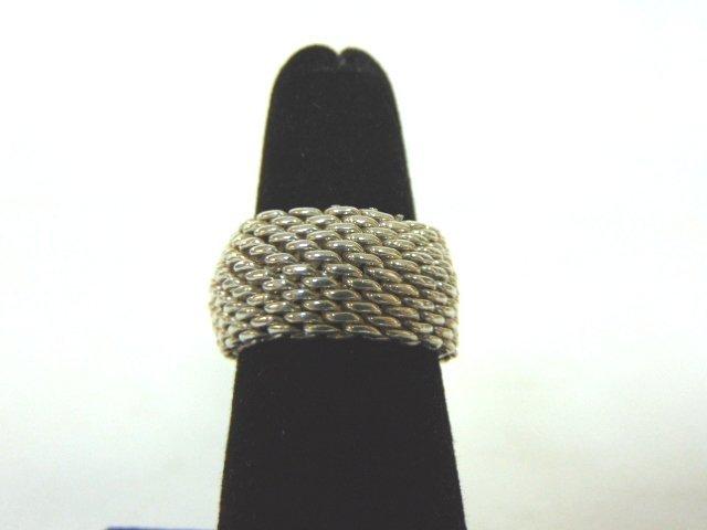 Vintage Estate Sterling Silver Tiffany Mesh Ring