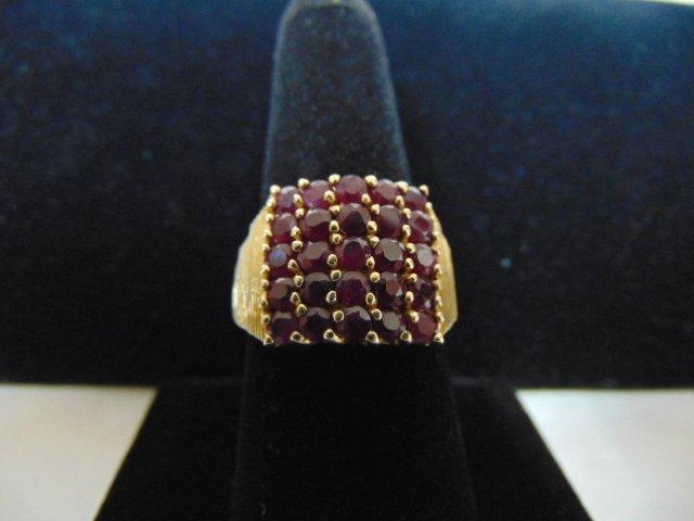 14k Yellow Gold Ring w/ Garnet or Ruby ? Stones