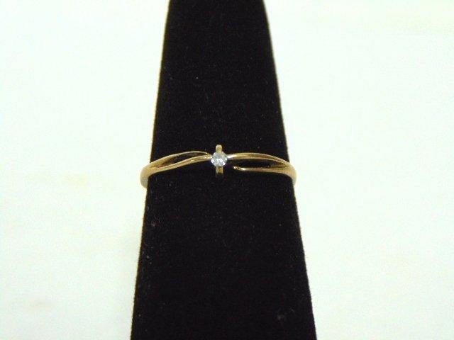 Vintage Estate 10K Yellow Gold Ring w/ Diamond Chip