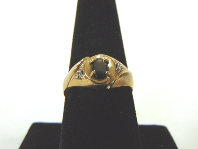 Mens 10K Gold Ring With Cats Eye or Obsidian Stone