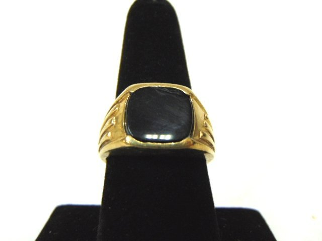 Mens Vintage Estate 10k Gold Ring w/ Onyx Stone