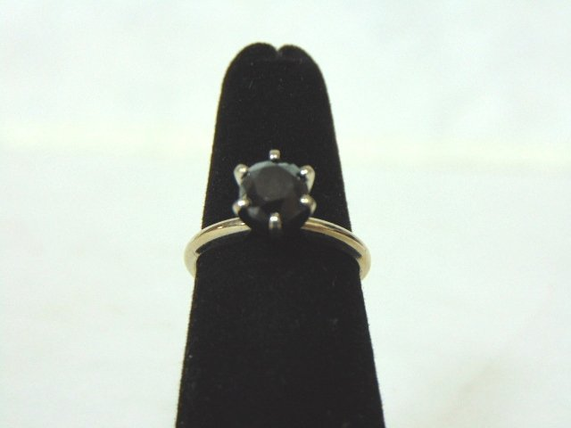 10k White Gold Ring w/ Dark Blue Sapphire Stone
