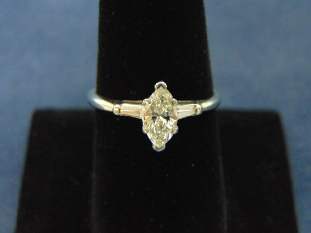 Vintage 14k White Gold Marquise Diamond Engagement Ring