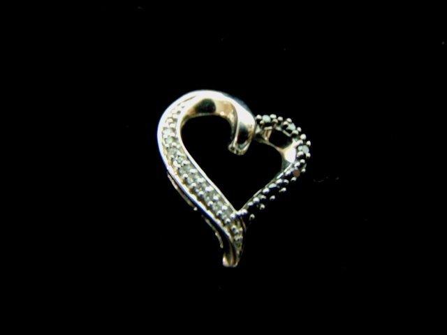 10K White Gold Heart Diamond Pendant w/ Sapphires