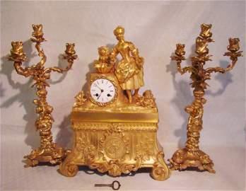 French Ormolu Clock With Candelabras