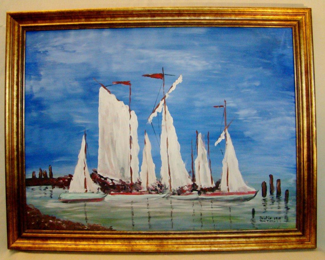 "Tom Tiffin, ""Destin 1918"",Sailboats. Oil on canvas. 36"""