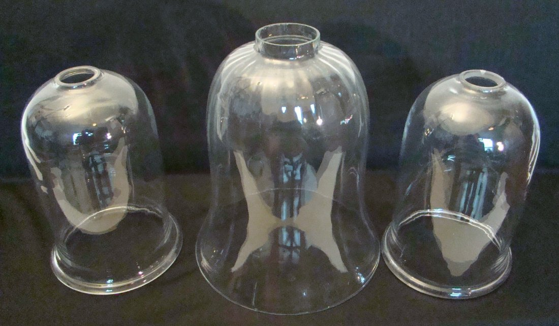 """Set of 3 Hurricane Lamp Domes. Two - 10 1/2""""H(1 1/2"""" s"""