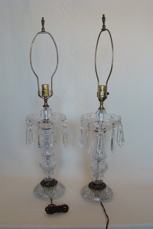 Cut Crystal Table Lamps w/prisms